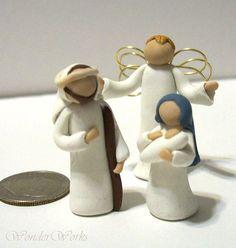 Tiny Nativity Set 3 Piece Miniature Figurines 1 door wonderworks, $35.00