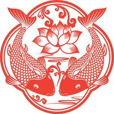 Carpa Doble corte de arte chino de papel
