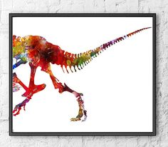 Art Print Watercolor Dinosaurs Watercolor Colorful by Thenobleowl