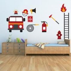 Kit Cameretta Firemen Pompieri Wall Sticker Adesivo da Muro Componibile