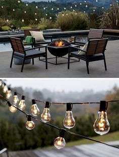 8 Outdoor Ideas To Inspire Your Spring Backyard Makeover / String Lighting - String lights are an easy and fairly inexpensive way to add light to your backyard or garden. Simply string them up, plug them in, and you're ready for a cozy night outside. Backyard Lighting, Patio Lighting, Exterior Lighting, Outside Lighting Ideas, Garden Lighting Ideas, Backyard Garden Landscape, Small Backyard Gardens, Garden Oasis, Large Backyard
