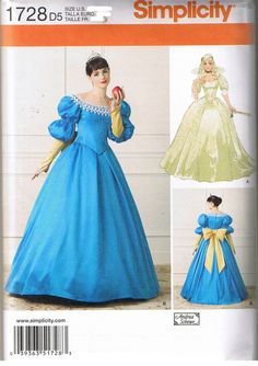 Simplicity Costumes for Adults Sewing Pattern #1728. Misses'16 th Century Snow White Princess Dress Ball Gowns. Suggested fabrics are satin, taffeta and brocade. B overlay in lace. This Simplicity Pattern is new, unused and uncut. | eBay!