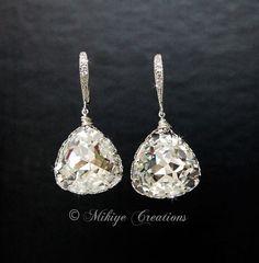 Wedding Earrings, Wedding Jewelry, Bridal Chandelier Swarovski Crystal Vintage Triangle Earrings - Etta