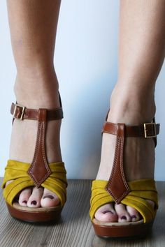 Mustard and Cognac T-strap Platforms