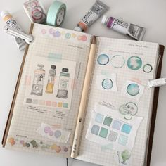 Watercolor art journal pages in traveler's notebook by Art Journal Pages, Artist Journal, Art Journals, Sketchbook Inspiration, Bullet Journal Inspiration, Art Sketchbook, Bullet Art, Watercolor Journal, Watercolour Painting