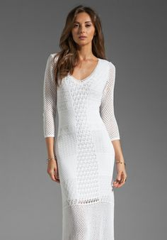 Catherine Malandrino Crochet Maxi Dress in White  63% вискоза, 37% нейлон Изображено в размере S. Примерная длина шва от плеча до подола - 152 cm Размеры модели: Рост 175 cm, Талия 66 cm, Обхват груди 81 cm, Бёдра 88 cm