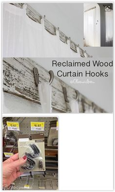 Reclaimed Wood With Unique Curtain Hooks . using cheap, simple coat hooks to make a cute curtain holder or curtain rod holder . Dyi Curtains, Cottage Curtains, Unique Curtains, Cheap Curtains, Farmhouse Curtains, Hanging Curtains, Curtains With Blinds, Curtain Wall Hooks, Curtain Rod Holders