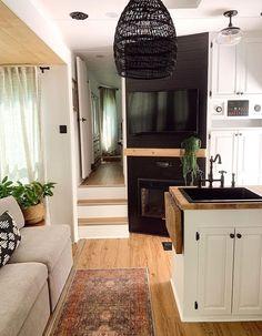 Van Living, Tiny House Living, Living Spaces, Camper Interior, Trailer Interior, Camper Makeover, Camper Renovation, Remodeled Campers, Travel Trailer Remodel