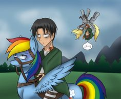 """Hey Levi!"" by DERPYLOVER. (Attack on Titan and My Little Pony: Friendship is Magic, cross-over.)."