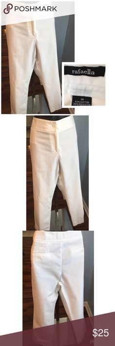 """Rafaella White Pants Rafaella white pants made of cotton, polyester and spandex. Zipper and Button on the front. Small split at the cuffs. Excellent condition. Measures 37"""" around and 28"""" in length. Rafaella Pants"""
