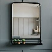 Large Industrial Mirror with Shelf