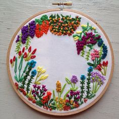 Garden Flowers Embroidery Hoop by itsonlyyou