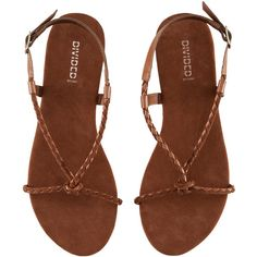 H&M Sandals ($5.69) ❤ liked on Polyvore featuring shoes, sandals, flats, zapatos, flat shoes, leather flats, buckle flats, buckle sandals and leather flat shoes