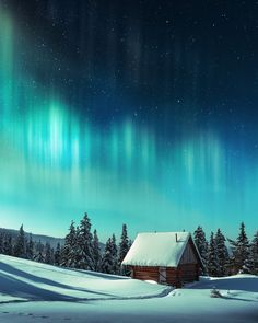 Fantastic landscape with orthen light photo by ivankmit on Envato Elements Northen Lights, Vintage Graphic Design, Snowy Mountains, Wooden House, Winter Landscape, Night Skies, Sky, Photography, Travel