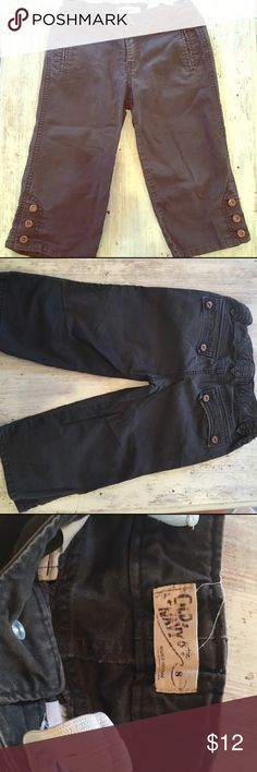 Girls chocolate brown capris 🍩 Girls capri/ crop pants. Rich brown color is impossible to capture indoors or out. 😕.                                        *Thick, durable material similar to carhart.          * bronze colored metal bottons.                   *Excellent Condition. (Features some intentional distressing at pockets)         *adjustable waist Old Navy Bottoms