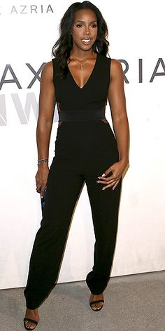 Last Night's Look: Love It or Leave It? Vote Now! | KELLY ROWLAND | wearing a cinched-waist black jumpsuit with side cutouts and a low neck, plus a nude lip and minimal jewelry, to the BCBG MaxAzria resort collection showing in L.A.