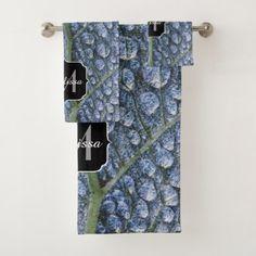 Cool Water Drops Dew Texture Leaf Monogram Bath Towel Set
