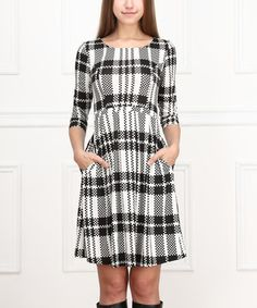 Look what I found on #zulily! Black & White Plaid Fit & Flare Dress by Reborn Collection #zulilyfinds