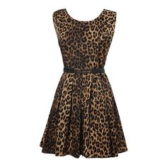 Sexy Women's Leopard Print Sleeveless One-piece Dress With Belt ($28) ❤ liked on Polyvore
