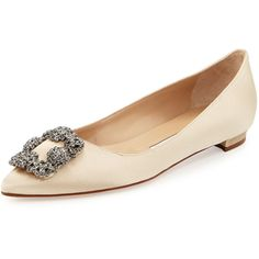 Manolo Blahnik Hangisi Crystal-Buckle Satin Flat (£835) ❤ liked on Polyvore featuring shoes, flats, sapatilhas, champa, slip-on shoes, flat pump shoes, beige shoes, manolo blahnik flats and crystal shoes