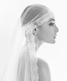 Sheer lace edged mantilla veil by Rosa Clara
