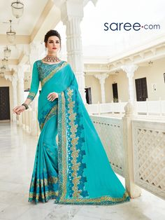 BLUE GEORGETTE SAREE WITH EMBROIDERY WORK