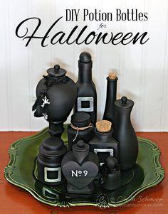 DIY Potion Bottles for Halloween black diy halloween diy crafts halloween decorations diy halloween ideas crafty halloween ideas diy halloween decorations potion bottles