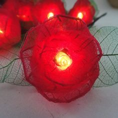 35 Red Rose Flower Fairy String Lights Wedding Party Patio Spa Floral Decor 3.5m