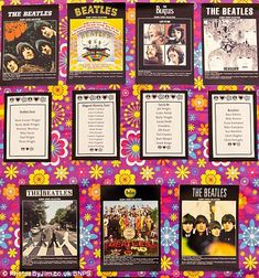 The couple's Beatles album-themed table plan. (I don't like the background paper but the album covers/lists for tables would be cool)
