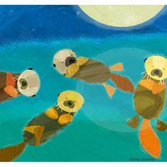 Sleeping otters, by Amy Schimler Illustration Mignonne, Children's Book Illustration, Sleeping Otters, Art Fantaisiste, Art Mignon, Otter Love, Inspiration Art, Whimsical Art, Cute Art