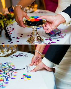Your family puts their thumb prints on the tree, what a neat idea! #WeddingPlanning #HappyPlanningBGP
