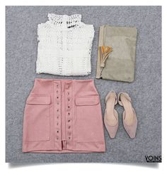 """Yoins: White & Pink"" by yoinscollection ❤ liked on Polyvore"