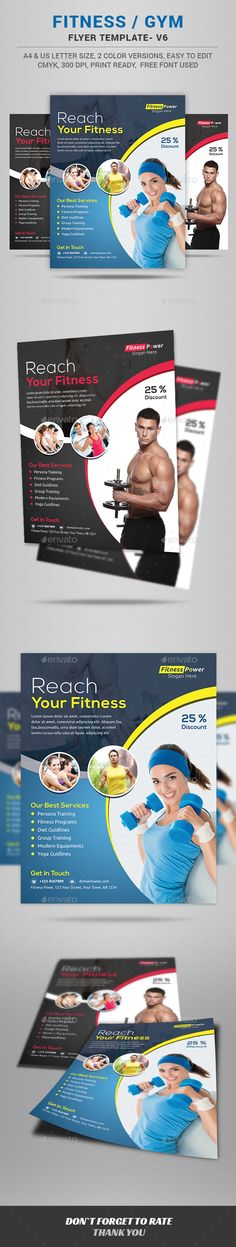 Fitness Flyer by jpixel55 A professional and modern Fitness/Gym flyer perfect for any Fitness & Gym, beauty center, hair salon / stylist or fashion consulta