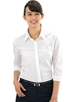 019f98e9b31a3 LEONIS Women s Stretch Easy Care Poplin 3 4 Sleeve Shirt Black (XXS  0 )    32291