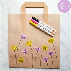Diy Paper Bag, Paper Bag Crafts, Paper Bags, Paint Marker Pen, Acrylic Paint Pens, Diy Art Projects, Craft Tutorials, Paint Pens For Rocks, Diy Bags Patterns