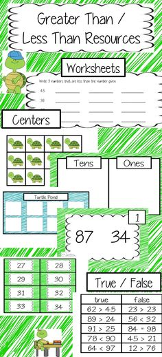 Greater Than / Less Than.  Centers, worksheets, and true/false activities.