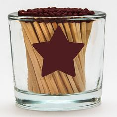 Glass Cylinder Match Holder with 5-Pointed Star Striker by Strike a Match, a line of modern match holders and match strikers designed for people who enjoy using MATCHES to light their candles, incense, cigars, and other favorite things to relax and enjoy life. Think ahead. This is the ULTIMATE stocking stuffer! $14 {matchstick holder, match holder, match striker, matchsticks, burgundy matches}