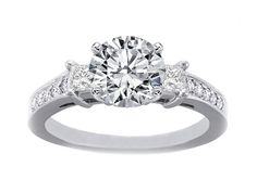 Diamond Engagement ring setting with Princess cut side stones and Pave band 0.32 tcw. In 14K White Gold - ES150