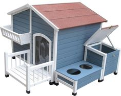 Features:  -Pointe Elizabeth collection.  -Attractive dog house gives dogs a comfortable lifestyle with extra features.  -Grow a mini herb garden or decorate with included garden box.  -Includes feedi