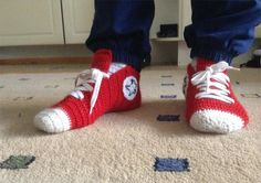 Fred pattern: Crochet Converse Slippers.  These are awesome.