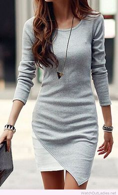 Irregular long sleeve chiffon mini dress design