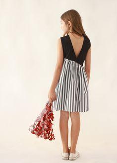 Enea Dress Black & white stripes/Black/Pink | MOTORETA