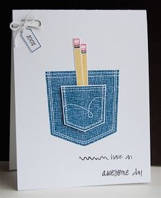 Wplus9 cute card.  A pocketful stamps.  Love the double pocket