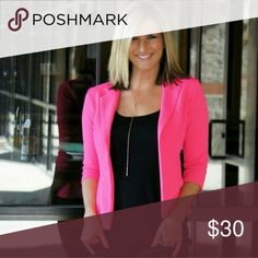 Hot pink blazer NWT from some boutique near my house.   Absolutely girly and fabulous! !   With a cute little scrunch sleeve perfect for getting busy at work at keeping your sleeve out of the way !  Hot pink chiffon blazer urban rose Jackets & Coats Blazers