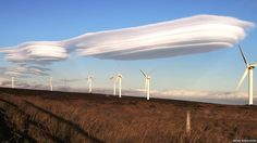Rare lenticular clouds spotted over West Yorkshire, England, back in 2011.  Photograph by BRIAN MIDDLETON