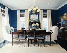 blue walls white curtains