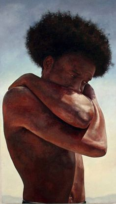 Steven Chapman, realist {contemporary figurative art African-American male torso figurative black man art painting with #naturalhair}