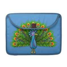 """#sleeves #macbooksleeves #peacock #zazzle #elenaindolfi Peacock MacBook Sleeve by elenaind   •Water resistant, extra durable construction  •Ultra-plush, laptop-grade padded liner.  •Secure hoop and loop flap closure.  •Handmade with a sustainability focus in San Francisco, CA.  •Sized perfectly for MacBook/MacBook Pro 13"""" (14.25""""W x 10.9""""H x .75"""" D) & MacBook/Macbook Pro 15"""" (16""""W x 11.75""""H x .75"""")."""