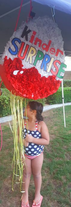 Kinder Surprise Egg Pull string Pinata for pool party birthday