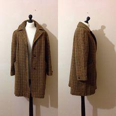 vintage HARIS TWEED brown tweed coat by OHARAVINTAGE on Etsy, £40.99